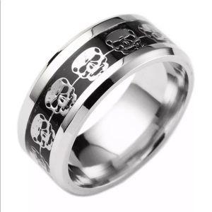 Stainless Steel Skull Ring Silver/Black